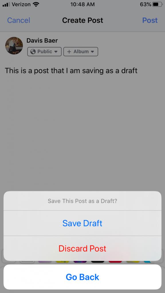 Find Facebook drafts