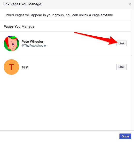 Add Facebook Page as Admin of Facebook Group