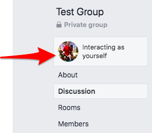Interacting as yourself in Facebook Group