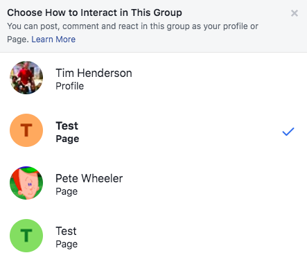 Interacting as Page in Facebook Group
